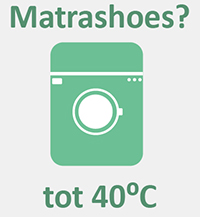Matrashoes wassen tot 40 graden